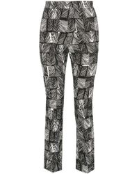 Max Mara - Paggio Cropped Printed Cotton-blend Straight-leg Pants - Lyst