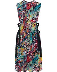 M Missoni - Pleated Printed Silk Crepe De Chine Dress - Lyst