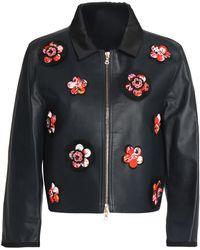 Victoria, Victoria Beckham - Floral-appliquéd Leather Biker Jacket - Lyst