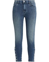 J Brand - Cropped High-rise Skinny Jeans Mid Denim - Lyst