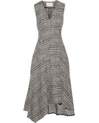 Jason Wu - Asymmetric Prince Of Wales Check Wool Midi Dress - Lyst