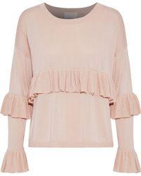 Cinq À Sept - Woman Phillipa Ruffled Silk And Cashmere-blend Sweater Blush - Lyst