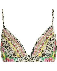 Camilla - Woman Memory Lane Crystal-embellished Floral-print Triangle Bikini Top Animal Print - Lyst