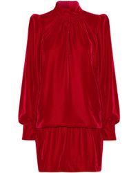 Marc Jacobs - Gathered Velvet Mini Dress - Lyst