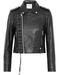 W118 by Walter Baker - Annarae Lace-up Leather Biker Jacket - Lyst