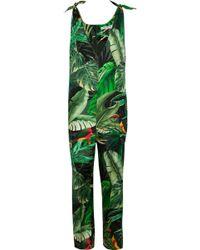 Max Mara - Printed Silk-twill Jumpsuit - Lyst