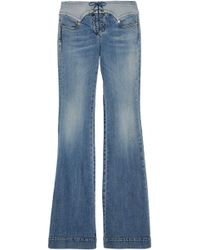 Roberto Cavalli - Lace-up Faded Mid-rise Flared Jeans - Lyst