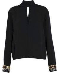By Malene Birger - Wrap-effect Embellished Crepe Blouse - Lyst