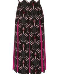 Valentino - Love Blades Silk-paneled Printed Wool-blend Midi Skirt - Lyst
