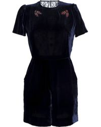 Sandro - Cutout Embellished Velvet And Lace Playsuit - Lyst