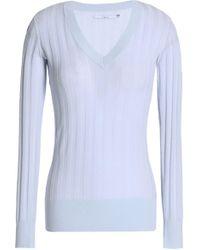J Brand - Ribbed Cotton-blend Top Sky Blue - Lyst
