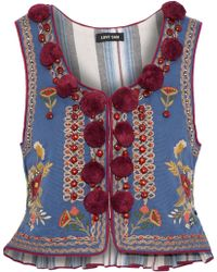 Love Sam - Woman Embellished Cotton-faille Vest Azure - Lyst
