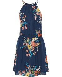 Joie - Floral-print Silk Crepe De Chine Mini Dress - Lyst