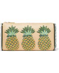 Edie Parker - Jumbo Lara Pineapple Embroidered Raffia And Acrylic Box Clutch - Lyst