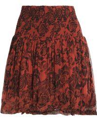 Ganni - Smocked Floral-print Crepe Mini Skirt - Lyst