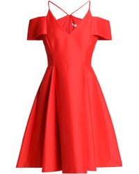 Halston - Off-the Shoulder Cotton And Silk-blend Mini Dress Tomato Red - Lyst