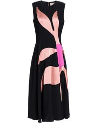 ROKSANDA - Fluted Satin-paneled Silk-blend Crepe Midi Dress - Lyst