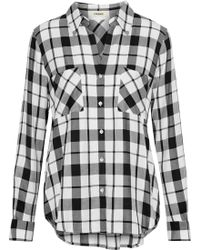 L'Agence - Jacqueline Checked Twill Shirt - Lyst