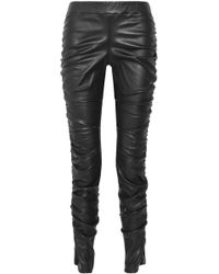 The Row - Ruched Leather leggings - Lyst