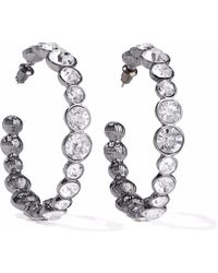 Kenneth Jay Lane - Gunmetal-tone Crystal Earrings - Lyst