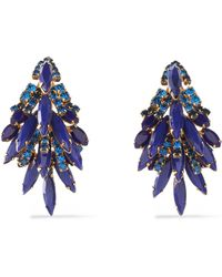 Elizabeth Cole - Gold-tone Stone And Crystal Earrings - Lyst