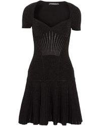 Alexander McQueen - Fluted Metallic Ribbed Wool-blend Mini Dress - Lyst