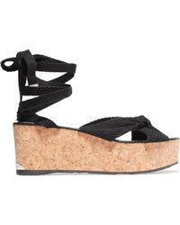 Jimmy Choo - Knotted Woven Platform Sandals - Lyst
