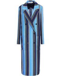Diane von Furstenberg - Woman Belted Striped Silk Trench Coat Azure Size M - Lyst