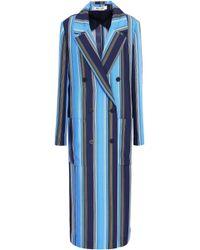 Diane von Furstenberg - Woman Belted Striped Silk Trench Coat Azure - Lyst