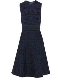 Carolina Herrera - Woman Metallic Wool-blend Jacquard Dress Navy - Lyst