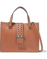 RED Valentino - Eyelet-embellished Leather Shoulder Bag Light Brown - Lyst