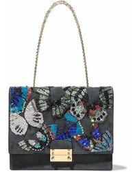 Valentino - Embellished Suede Shoulder Bag - Lyst