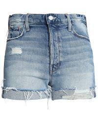 Mother - Distressed Faded Denim Shorts Mid Denim - Lyst