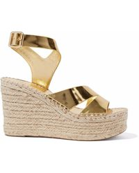 Sigerson Morrison - Arien Mirrored-leather Espadrille Wedge Sandals - Lyst