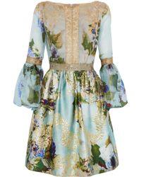 Marchesa - Metallic Lace-trimmed Silk-chiffon And Brocade Dress - Lyst