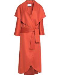 Vionnet - Leather-trimmed Wool-felt Coat - Lyst