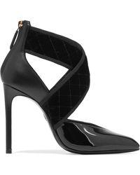 Lanvin - Matelassé Velvet And Leather Court Shoes - Lyst