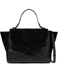 Halston - Suede And Pebbled-leather Shoulder Bag - Lyst