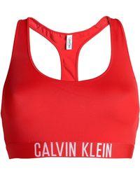 Calvin Klein - Woman Jacquard-trimmed Bikini Top Red - Lyst