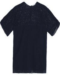 Nina Ricci - Broderie Anglaise Silk Dress Midnight Blue - Lyst