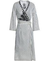 Day Birger et Mikkelsen - Embroidered Striped Twill Wrap Dress - Lyst