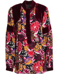 Anna Sui Woman Velvet-paneled Fil Coupé Printed Silk-blend Georgette Blouse Magenta Size 6 Anna Sui New Style iFKxkN35
