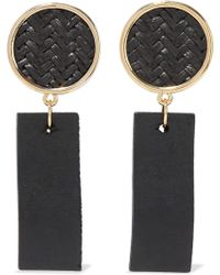 Kenneth Jay Lane - Gold-tone, Straw And Wood Earrings - Lyst