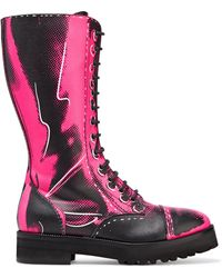 Moschino - Printed Leather Boots - Lyst