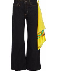 Simon Miller - Woman Denver Scarf High-rise Wide-leg Jeans Black - Lyst