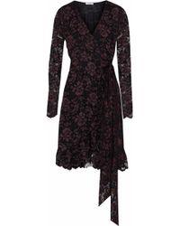 Ganni - Woman Flynn Ruffled Lace Wrap Dress Black - Lyst