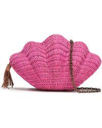 Kayu - Woman Jane Woven Straw Clutch Pink - Lyst