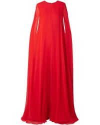 17e425defe9 Reem Acra - Woman Cape-effect Silk-chiffon Jumpsuit Red - Lyst