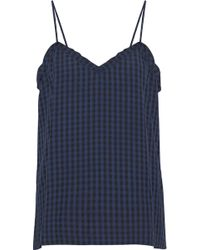 Tibi - Woman Gingham Flannel Camisole Navy - Lyst