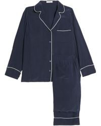 Equipment - Woman Avery Washed-silk Pyjama Set Navy - Lyst